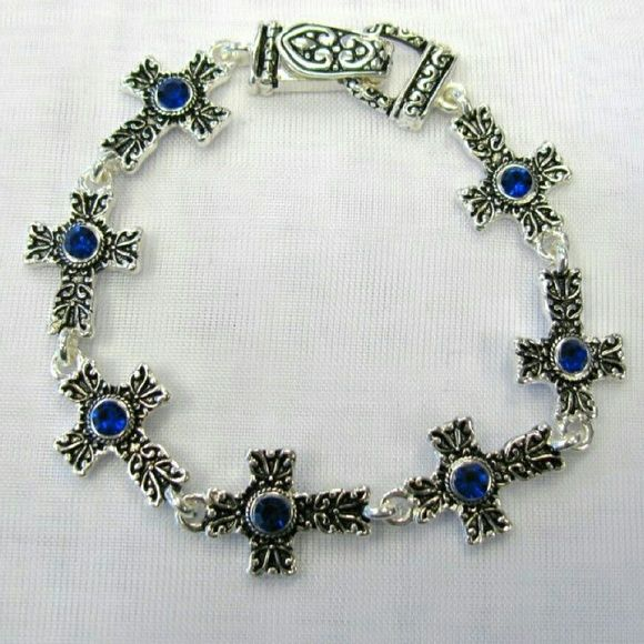 Blue crystal cross bracelet #beautiful #crystal #rhinestone #jewelry for #weddings #proms #pageants or any #event #bridesmaids #gift #bride #costumejewelry #accessories #bridal #saphire #birthstone Jewelry Bracelets