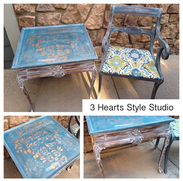 Gold Blue And White Distressed Side Table Custom Painted Furniture Denver And Colorado Springs Refi Gold Furniture Diy Diy Furniture Stenciled Furniture Diy