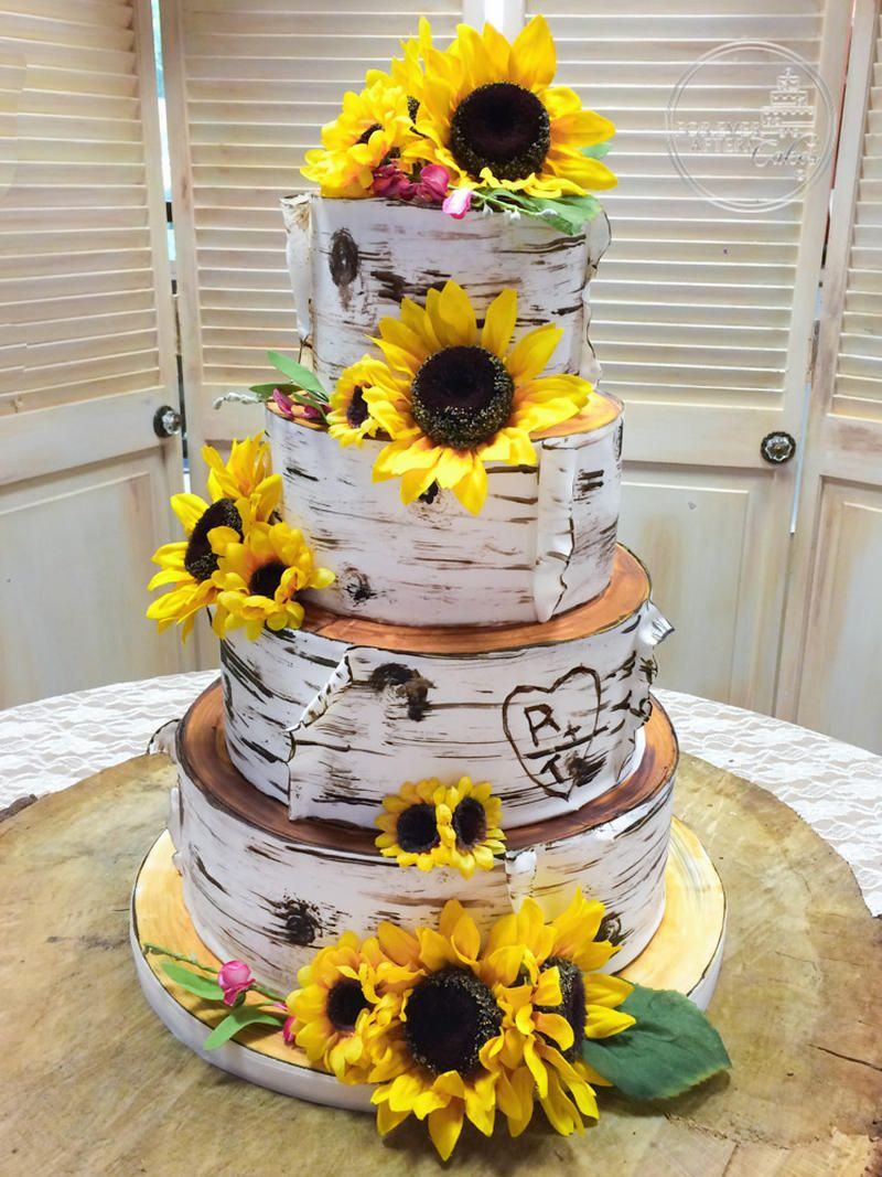 Birch Bark Wedding Cake With Sunflowers With Images Country