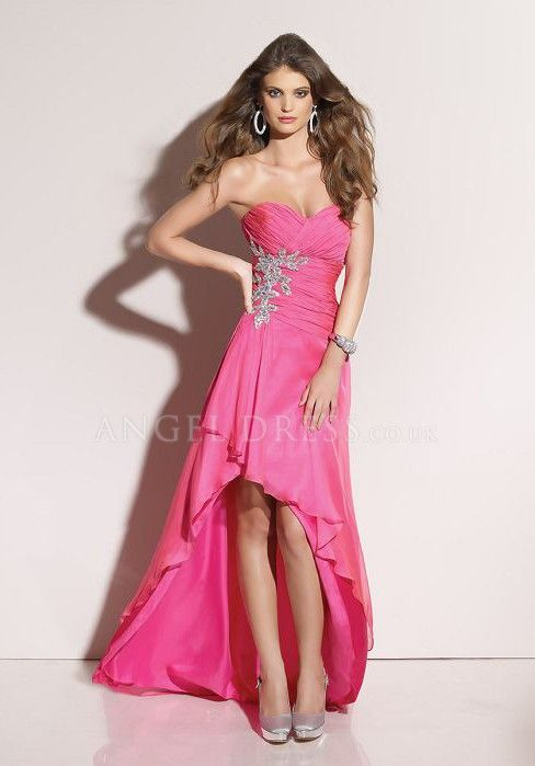 Satin Chiffon Sweetheart A line Empire High Low With Beading Evening Dress