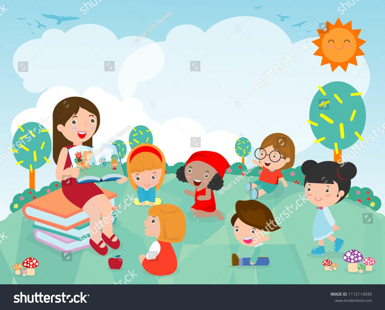 Teacher Telling A Story To Nursery Children In The Garden Cute Kids Listening To Their Teacher Tell A Story Teache Kindergarten Fun Nursery Teacher Cute Kids