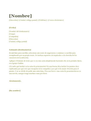 Carta De Presentación Para Cv Verde Carta De Presentacion Laboral Ejemplo De Carta De Presentación Carta De Presentación