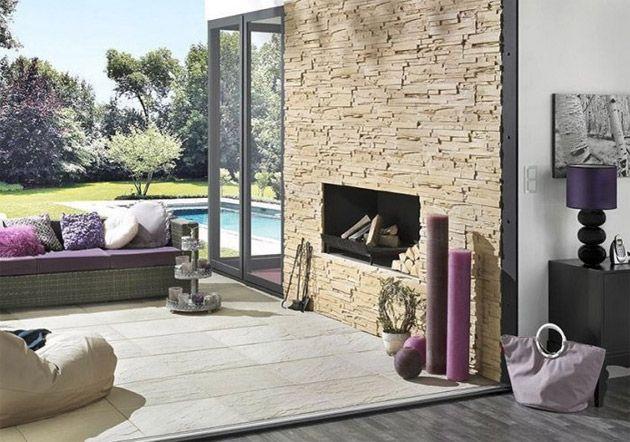 Steinwand Wohnzimmer – Design, Deko & Interieur für Haus & Wohnung ...