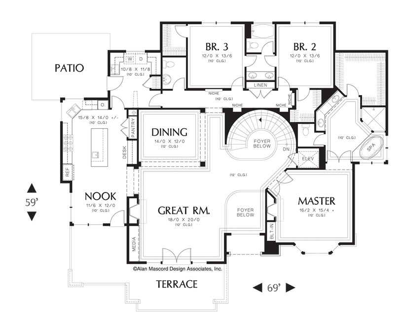Image For Leavenworth Sloping Lot Plan With Spiral Staircase And Elevator Main Floor Plan House Plans Spiral Staircase Plan Contemporary House Plans
