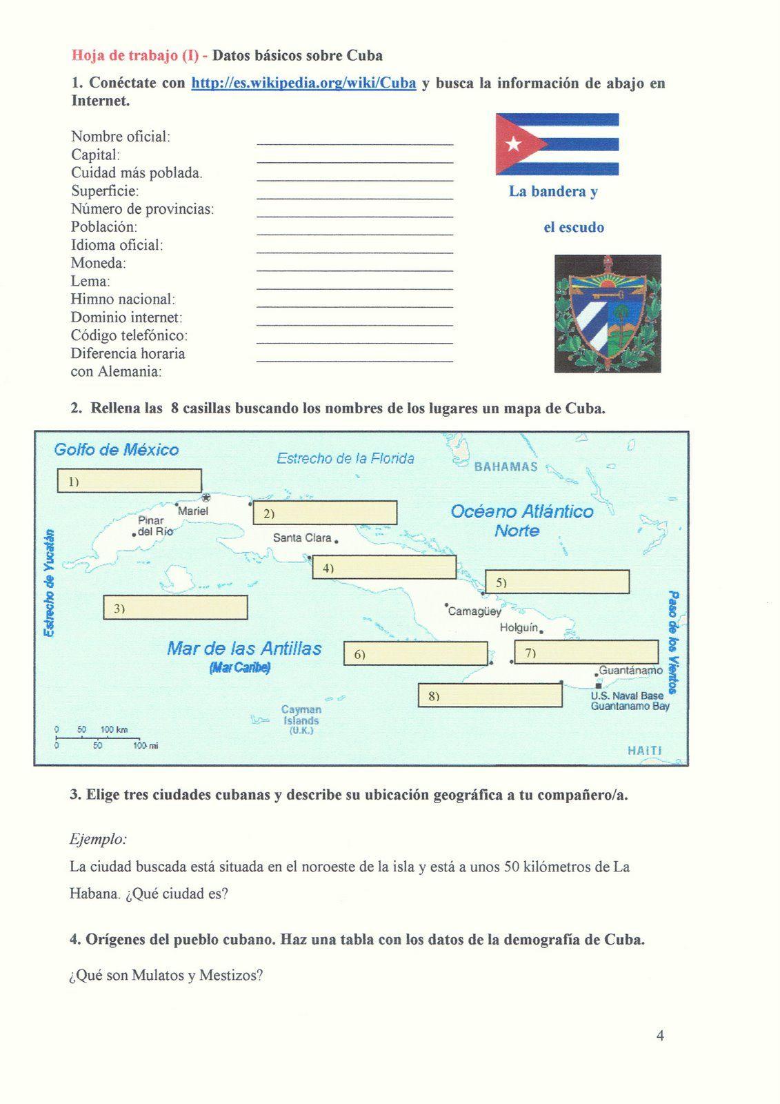 Worksheet Datos Basicos De Cuba