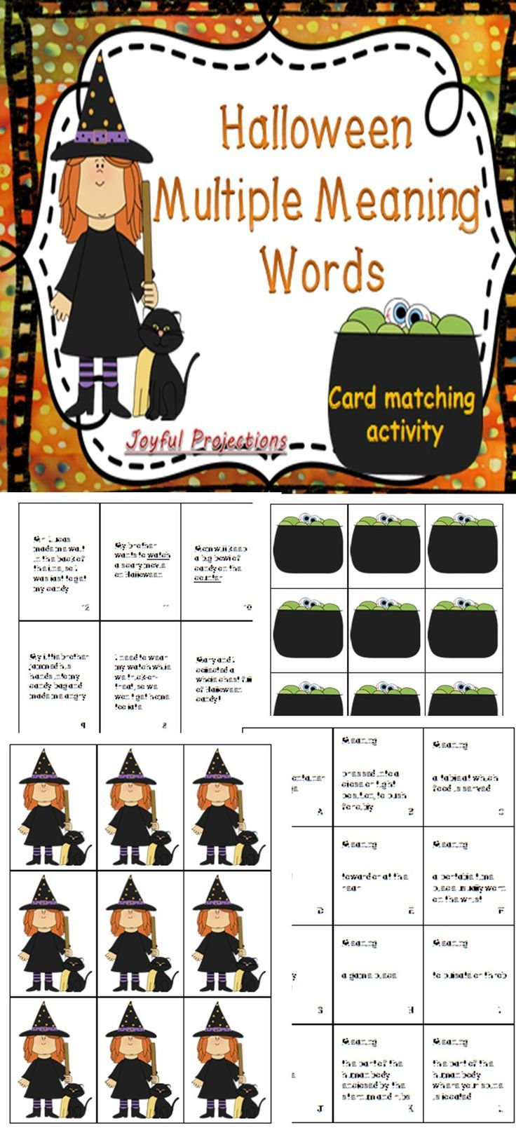 Halloween ELAR -Multiple Meaning Words - Card Matching Activity ...