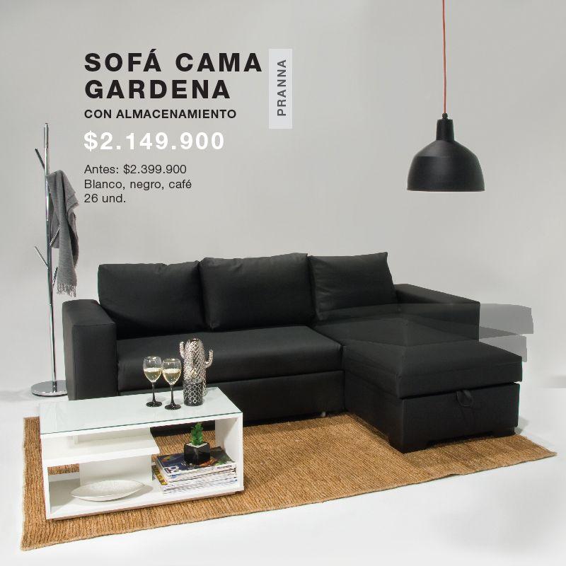 Sofá Cama #Gardena con almacenamiento: Presentación en color #Blanco ...