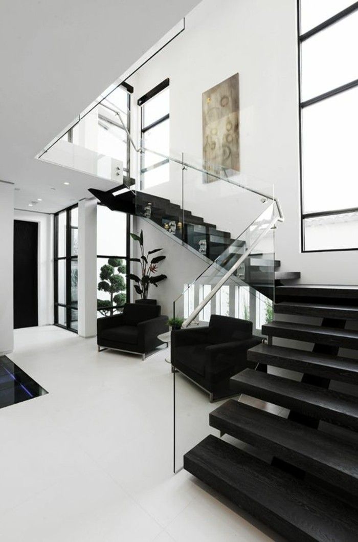 treppe mit glasgel nder f r schickes interieur pinterest. Black Bedroom Furniture Sets. Home Design Ideas