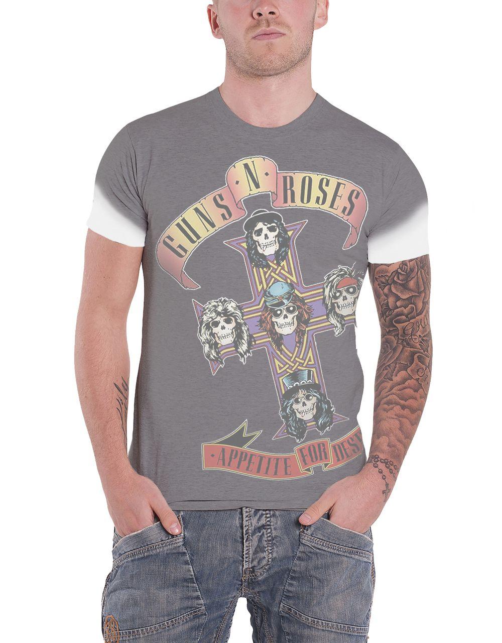f1dcf9922cb Guns N Roses T Shirt Appetite for Destruction Mens White Sub Dye - Paradiso  Clothing