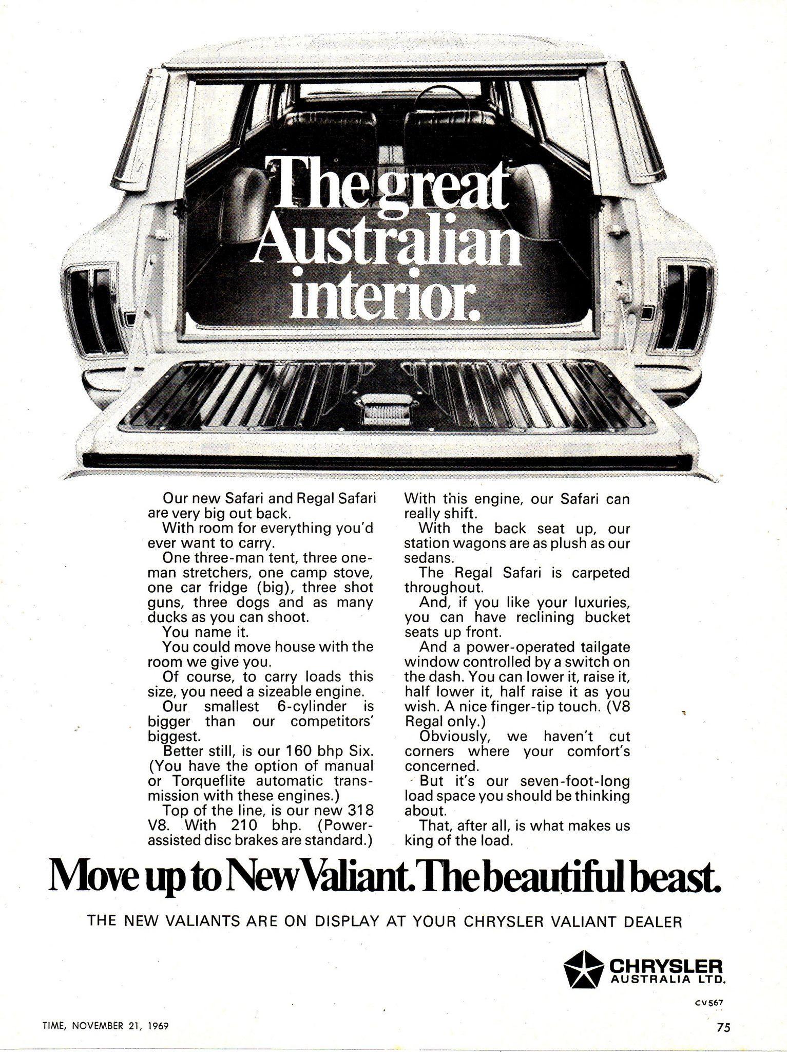 1969 vf chrysler valiant 225 regal safari aussie original magazine advertisement