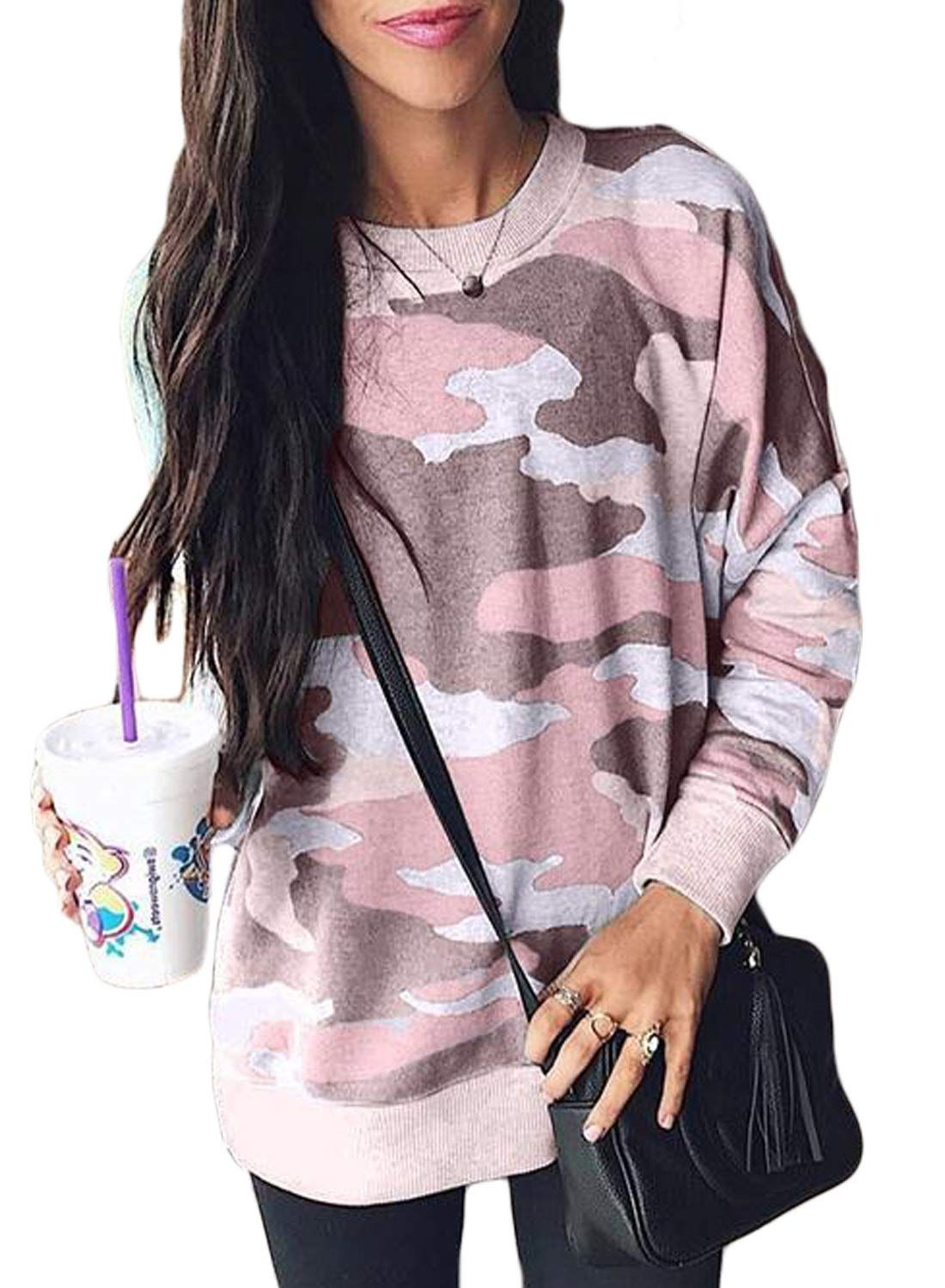15b32b0782428a Ecrocoo Womens Casual Camo Print Long Sleeve Loose Fit Pullover Sweatshirt  Tops at Amazon Women's Clothing store: | @giftryapp