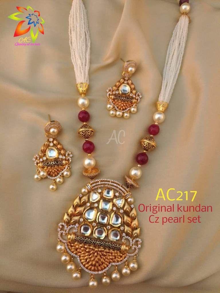 White and red beads kundan work pendant set designer indian