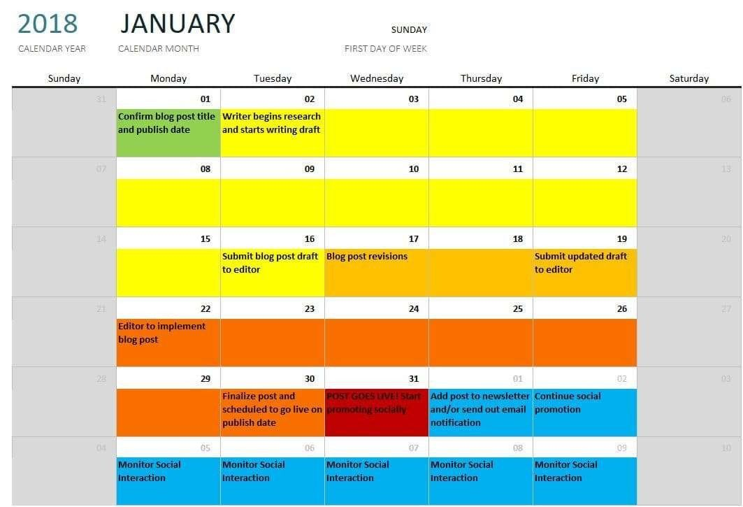 25 Color Coded Calendar Template in 2020 (With images