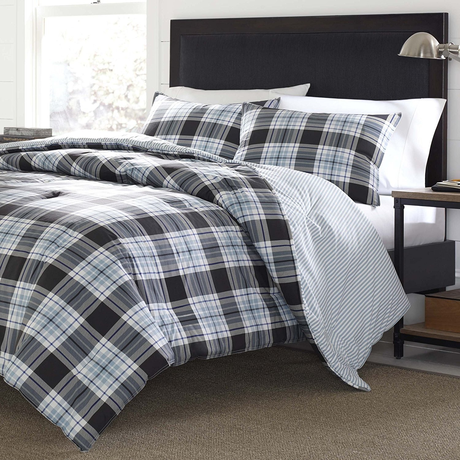 nautica bedding cunningham set blue overstock bath product plaid comforter today shipping free