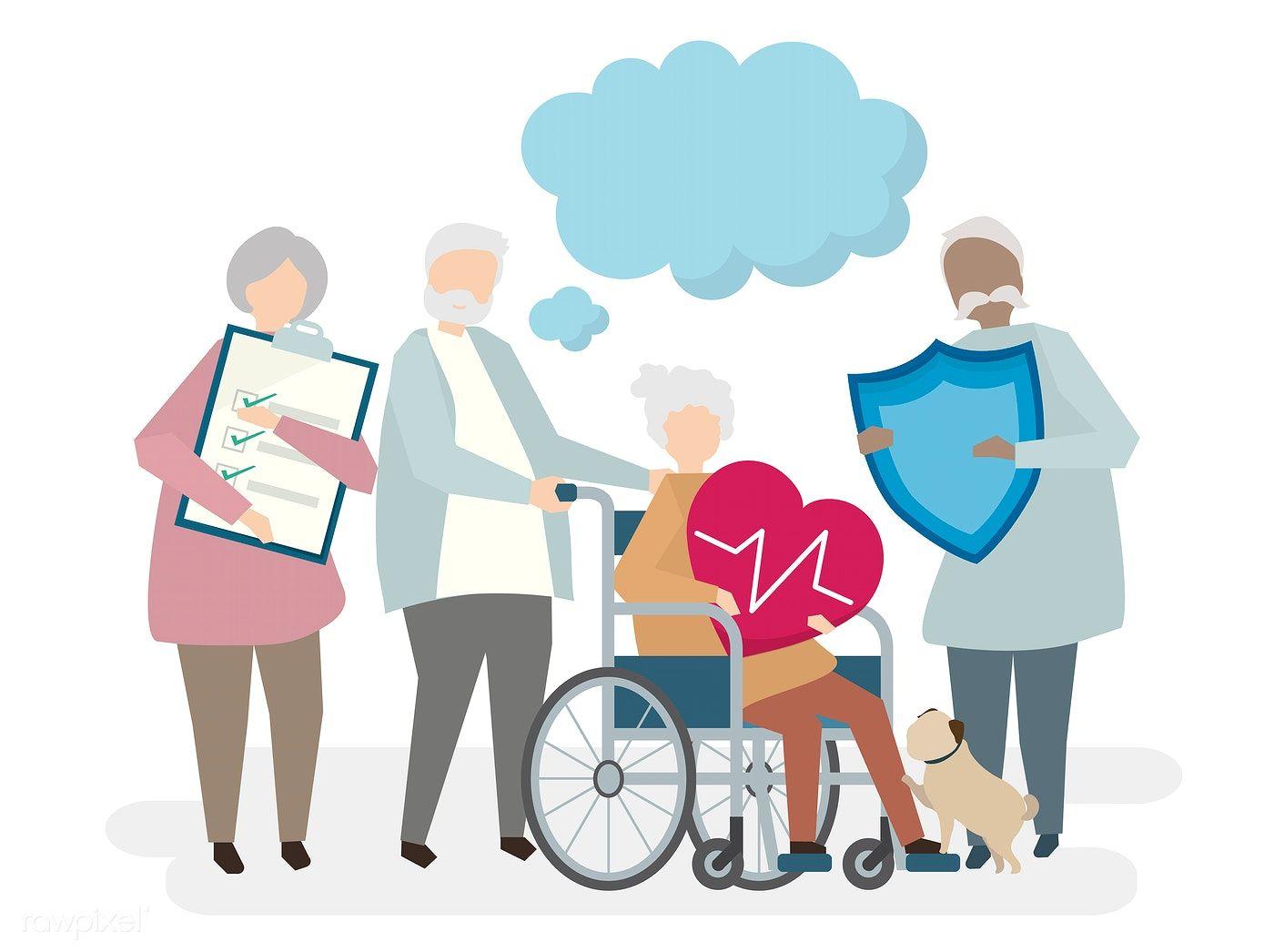 Illustration of seniors with life insurance | free image ...
