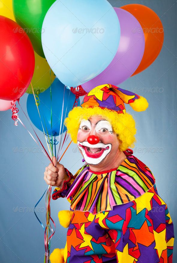 Happy Clown With Balloons Clown Paintings Clown Balloons Clown