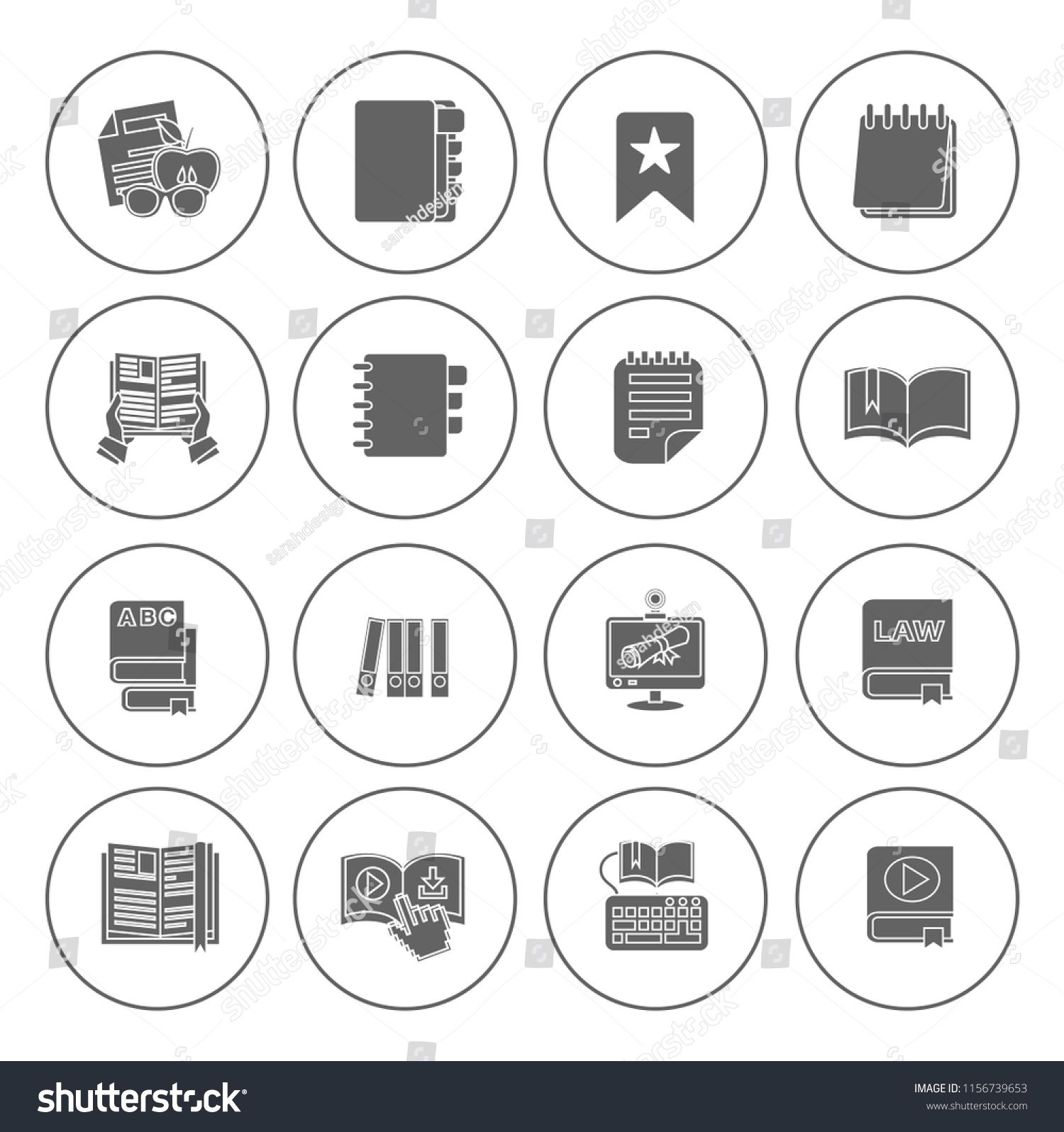 library books icons set education sign Book icons