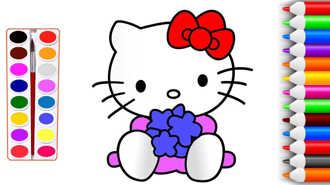Hello Kitty Coloring Pages For Kids How To Draw Hello Kitty Youtube Vi Hello Kitty Colouring Pages Hello Kitty Coloring Coloring Pages For Kids