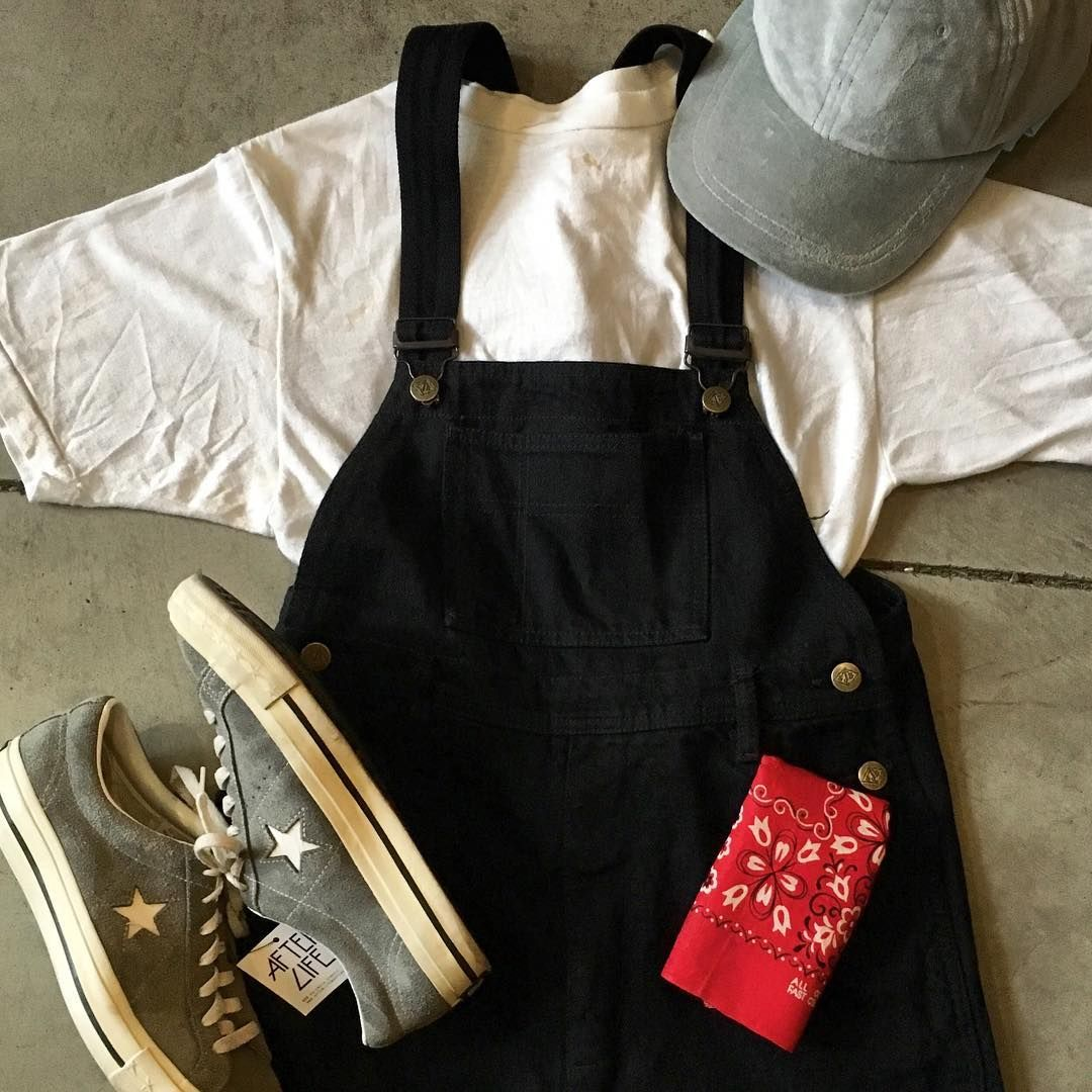 """The perfect pair of black overalls, slim fit 90's (waist 28"""" wide, inseam 31"""" long) $64 + $14 (shipping) domestic.  Deadstock 90's grey velvet hat adjustable brass fastener $14 + $8(shipping) domestic. One Star converse size W 6.5 $30 + $14 (shipping domestic) NOTE: Velvet hat also comes in black and navy blue."""