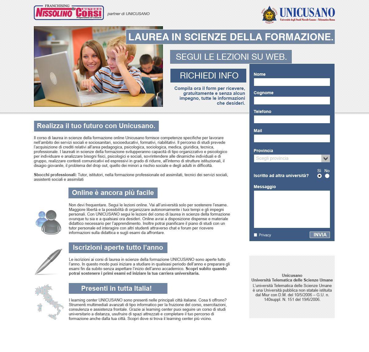 Landing Page Per La Campagna Ppc Di Nissolino Corsi