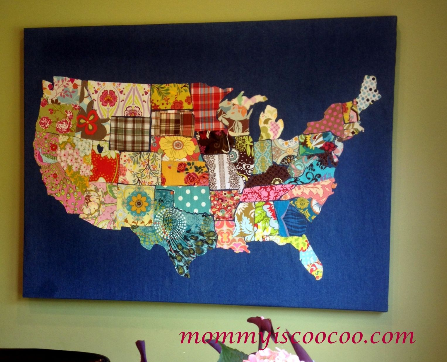 fabric usa map from mommyiscoocom so cool i think this would be