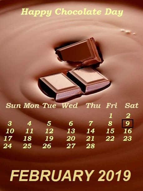 Happy Chocolate Day 2019 February Calendar Wallpaper Monthly