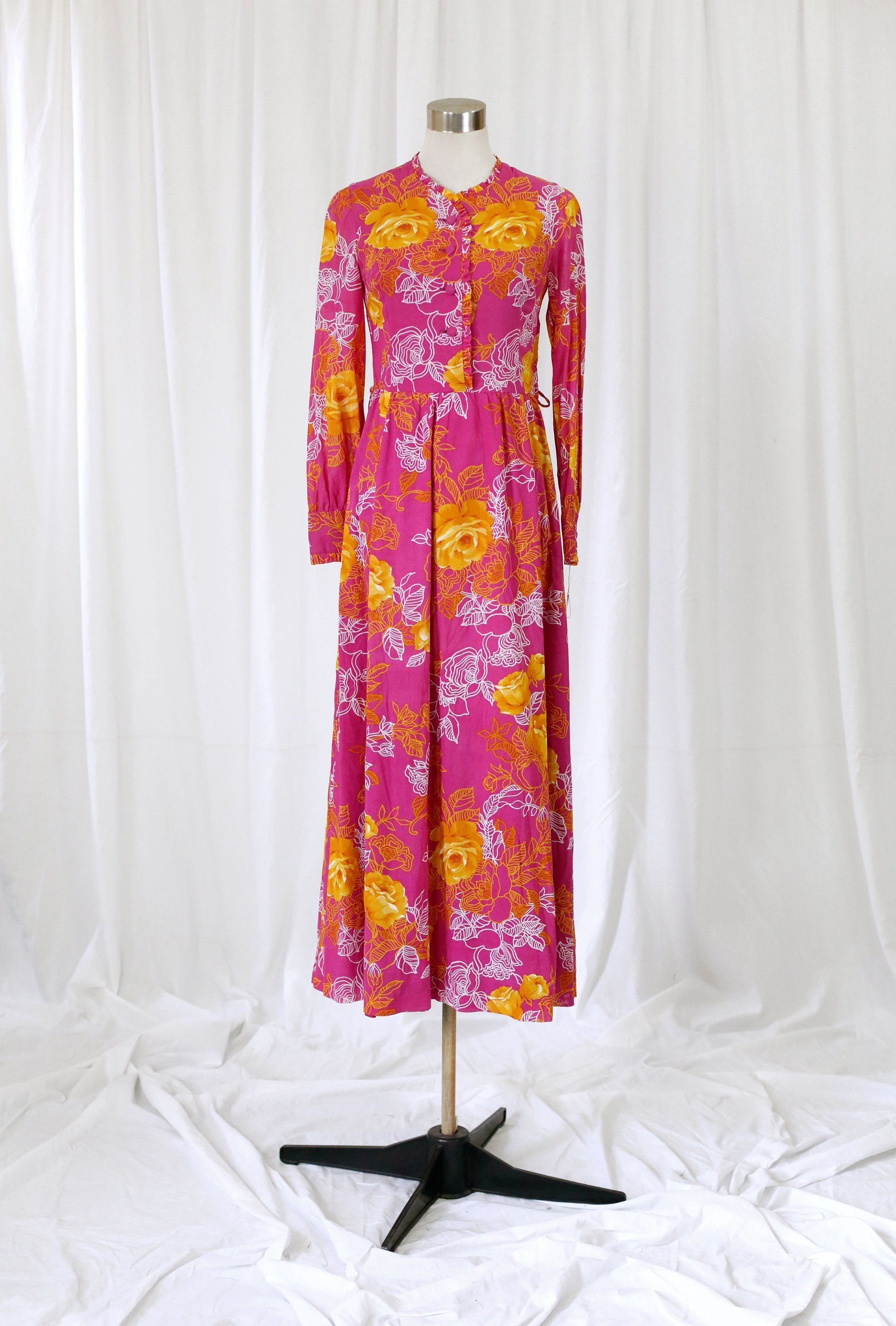 022dff9d1a 70s Pink Floral Maxi Dress with Frill Sleeve Detail | Vintage ...