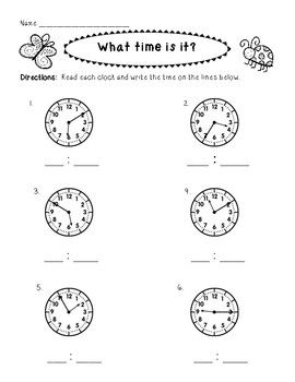 Quick check-in for students telling time to the 5 minute