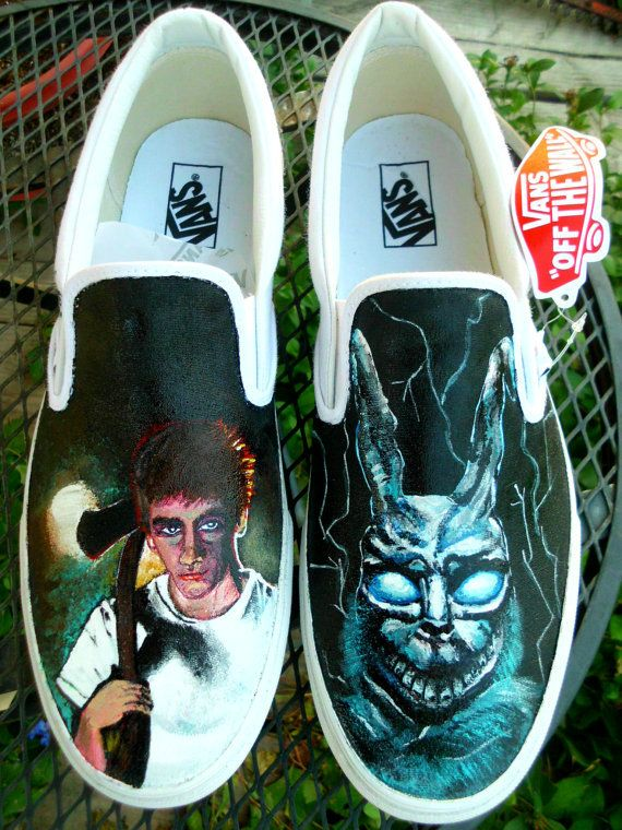 3f52fc910e Donnie Darko Custom Painted Toms or Vans Canvas Slip On Shoes Men Women  Child Any Size