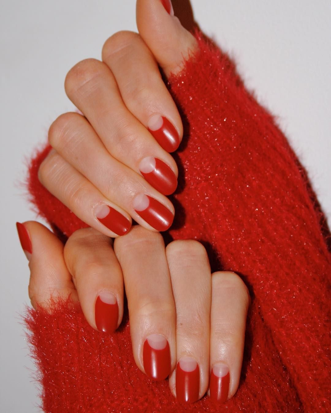 Valentine S Day Is The Perfect Excuse To Adorn Your Fingertips With Hearts Glitter And Multiple Shades Moon Manicure Half Moon Manicure Winter Nails Acrylic