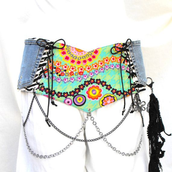 Corset belt belt with chains hip belt money belt by LiziRose, $96.50