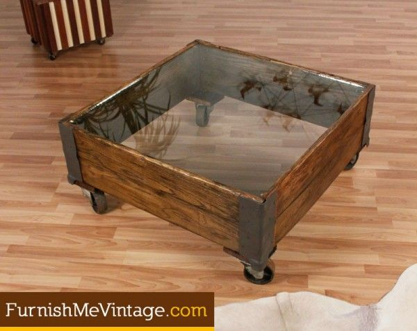 Living Room Vintage Glass Top Industrial Coffee Table $495 And Would Be  Easy To Make Yourself