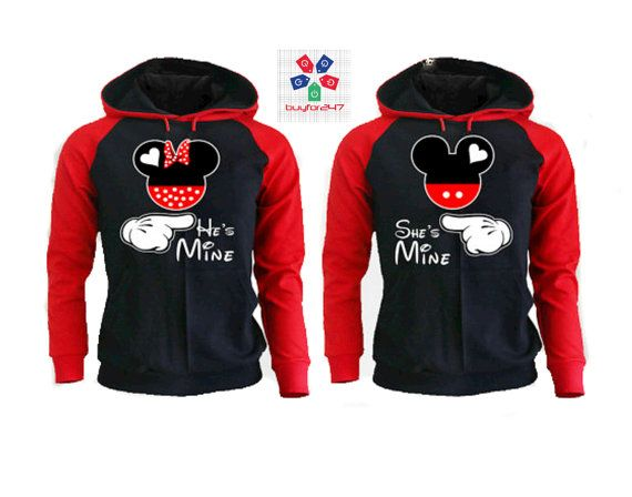 matching She'S Minie He's Mine Minnie Mickey couple matching couple hoodies hoodies Sweatshirt Couple Hoodie High Quality kPZoaK