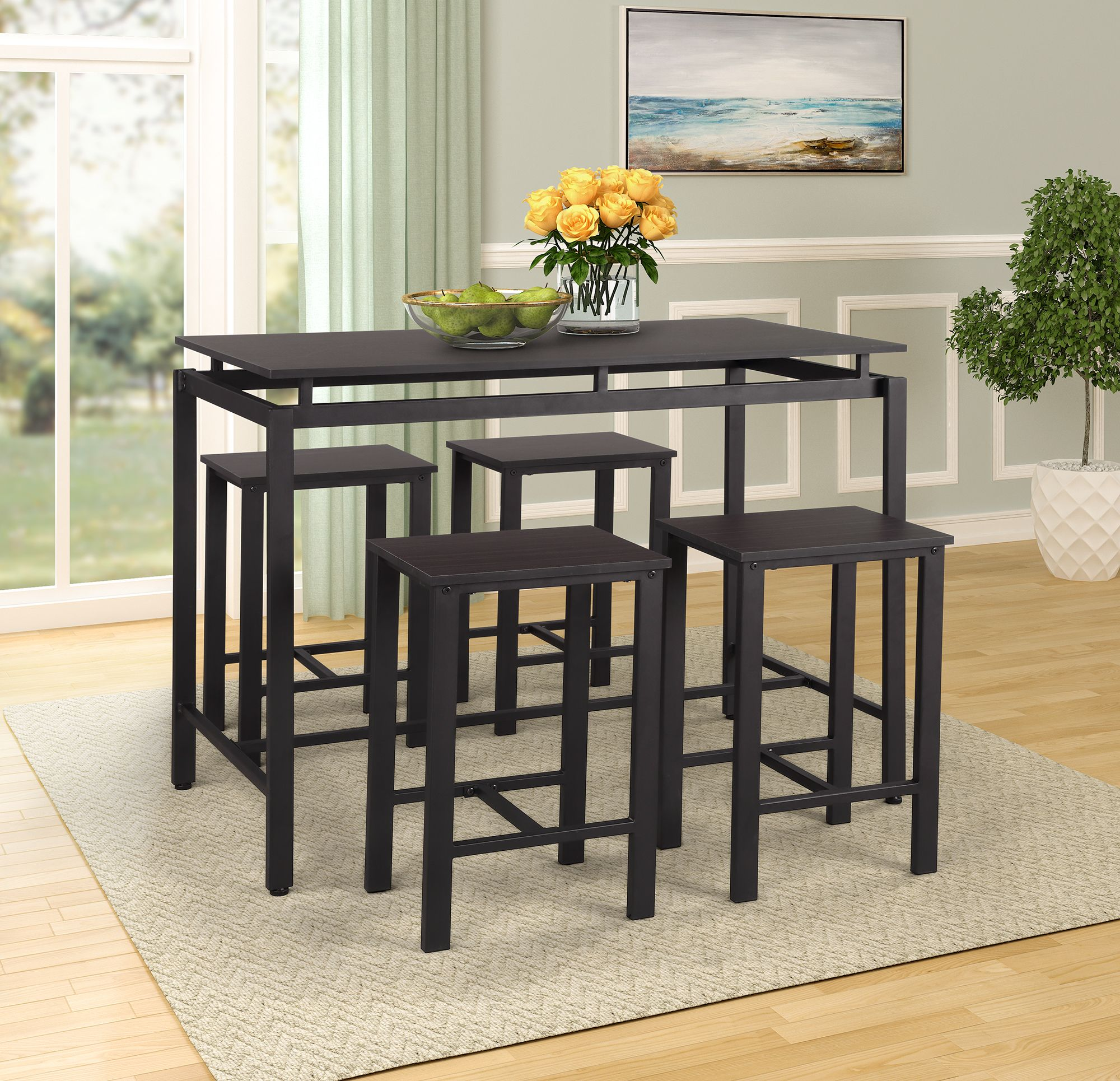 Kitchen Table And Chairs Heavy Duty 5 Piece Counter Height