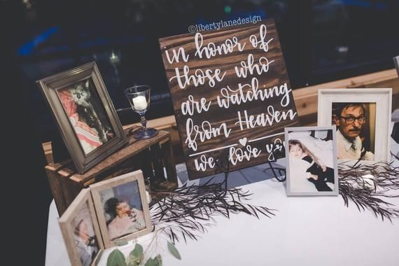 """Memory Table Sign Wood, Wedding Heaven Sign, Rustic Wedding Decor, Memorial Sign Wedding, In Honor Of Those In Heaven, Memory Sign Wedding is part of Wedding memorial - Getting married is one of the best times of your life! Although for many of us, it's hard to imagine without our loved ones that have passed  Honor their memory and show your deep love with this beautiful sign that can be displayed in the home after your special day as well! SIZE Approximately 16"""""""