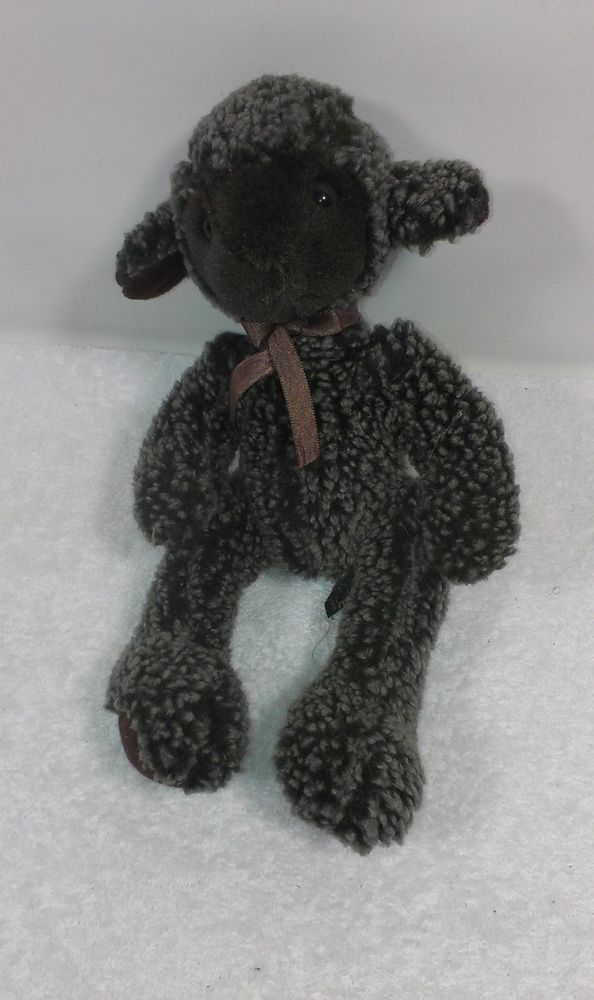 Russ 10 Black Brown Sheep Baby Stuffed Beanie Lamb Plush Ewe Animal