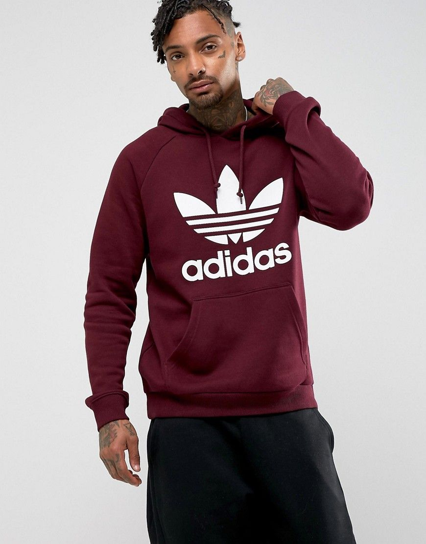 e2a79a9f48ed3 adidas Originals Trefoil Hoodie In Red BS4623   Products   Pinterest ...