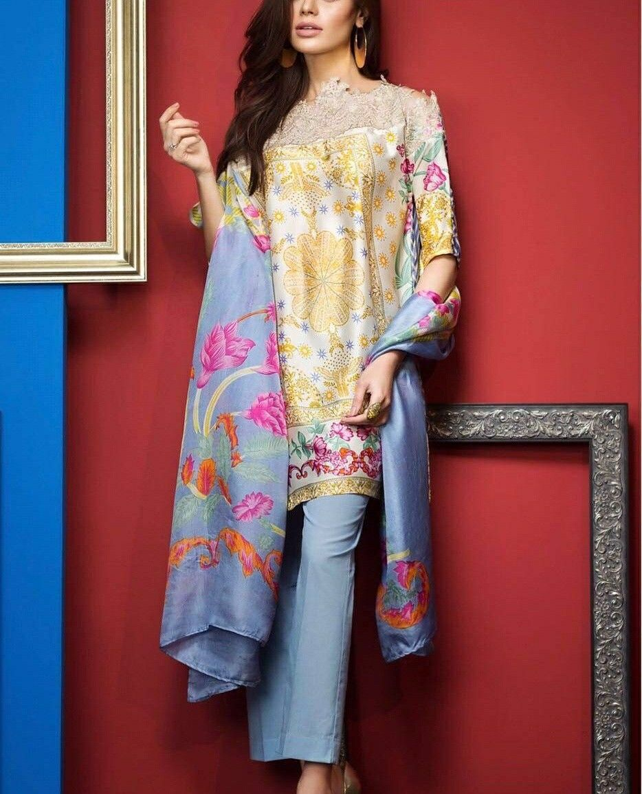 4ac586c315 Unique Collection of Designer Crepe Kurtis with Chiffon Dupatta Unstitched  Material INR 1925/- Order now @8898889404 #kurtis #ethnic #traditional # ...