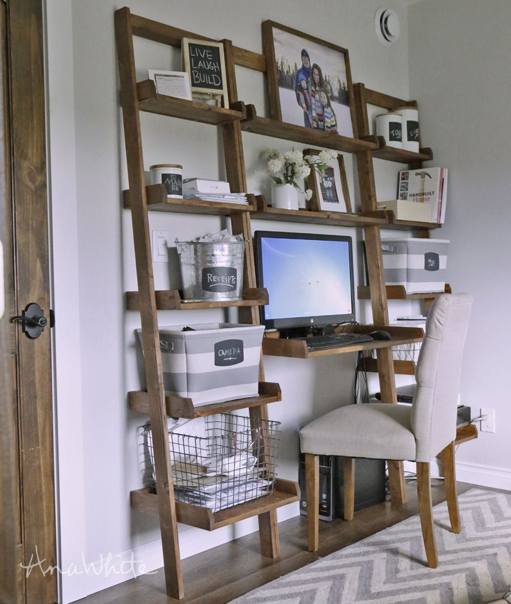 Ana white leaning wall ladder desk diy projects project time