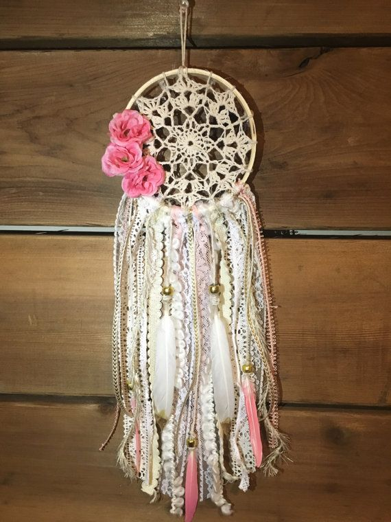 Small Vintage Pink Doily Dream Catcher Car By ZenBohoDreams DIY Custom How To Make Doily Dream Catchers