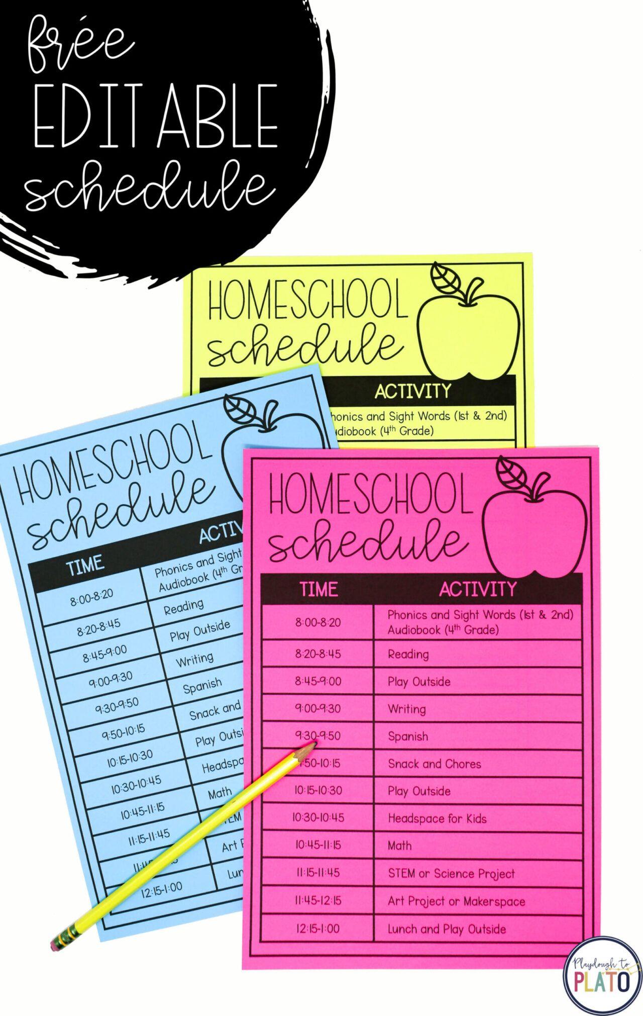 Photo of Editable Homeschool Schedule – Playdough To Plato