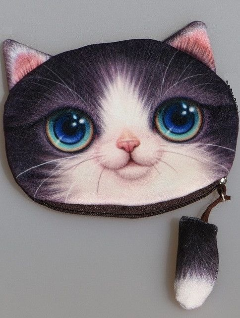 New Cute 3d animal Face Zipper Case cat Coin Purse female Wallet bolsas / child purse Makeup Buggy Bag Pouch bolsa feminina