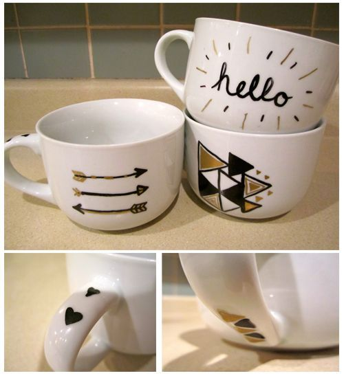 Oil based Sharpie and any solid colored mug plate or vase etc. & Sharpie mugs designs | Christmas gifts | Pinterest | Sharpie Oil ...