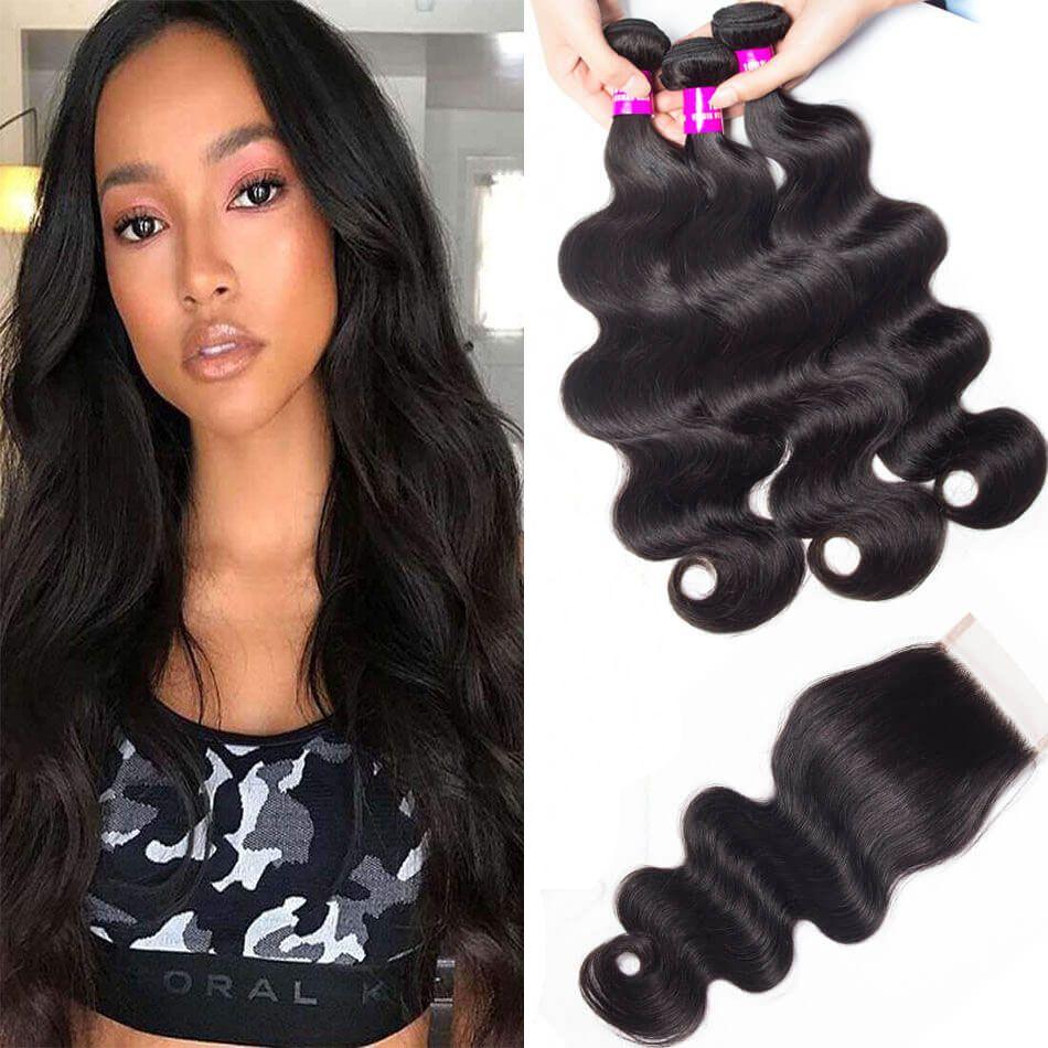 0743e74ae Evan Hair high quality 3 bundles Malaysian body wave with lace closure 100%  human hair