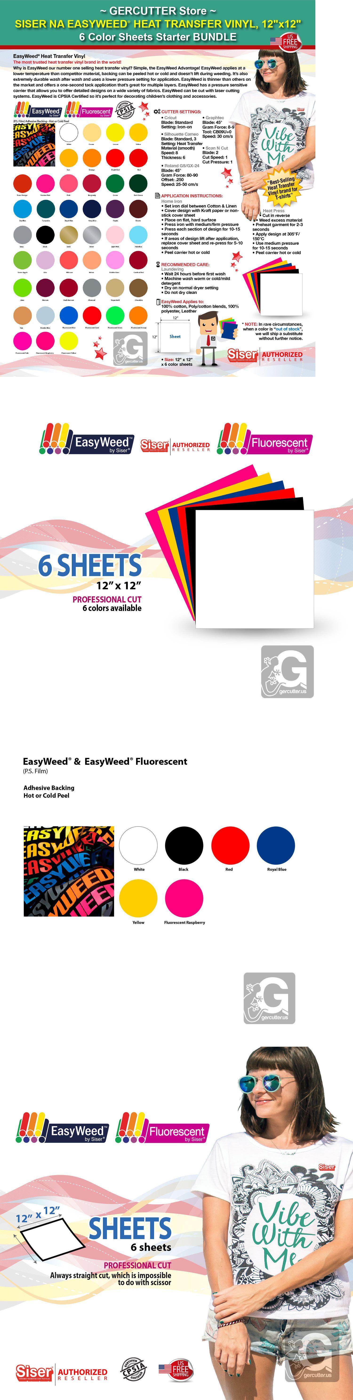 Siser Easyweed Htv Heat Transfer Vinyl 12 X 12 6 Color Sheets Starter Bundle Ebay Heat Transfer Vinyl Siser Easyweed Vinyl