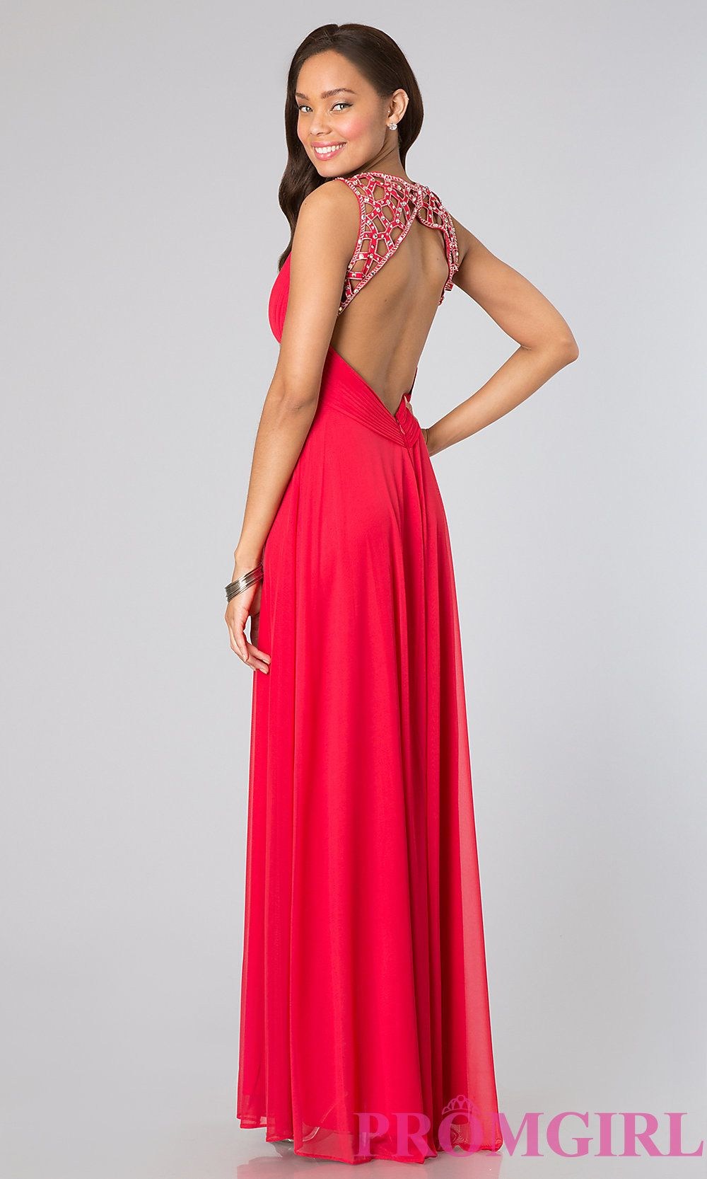 Long sleeveless open back dress by betsy and adam prom long prom