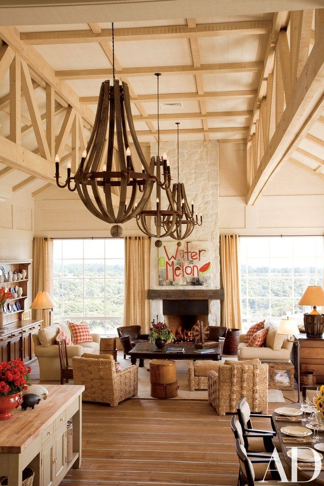 """The great room """"has amazing views and light,"""" says designer Linda Bedell. Kravet sofa fabric 
