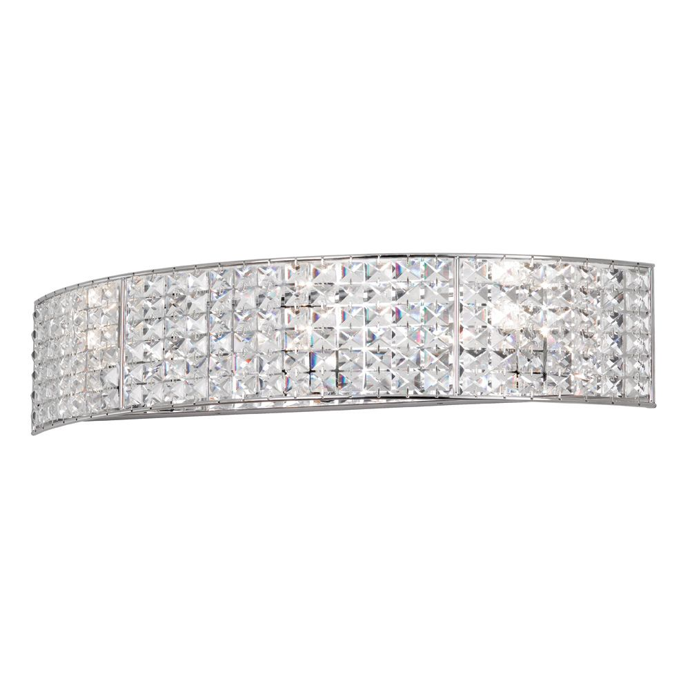 4Light Polished Chrome Crystal Vanity Fixture  Overstock Simple Crystal Vanity Lights For Bathroom Decorating Inspiration