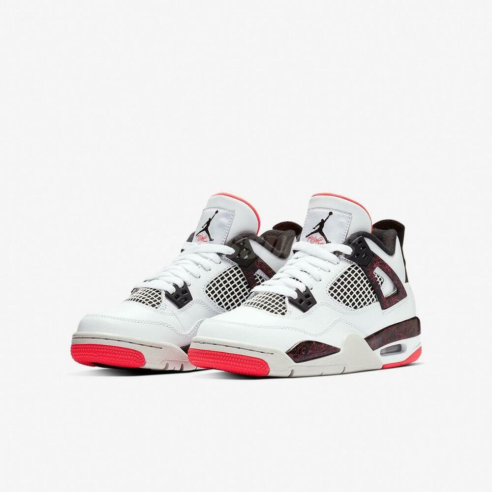 7643861a33db9 Nike Air Jordan 4 Retro GS White Bright Crimson Pale Citron Hot Lava ...