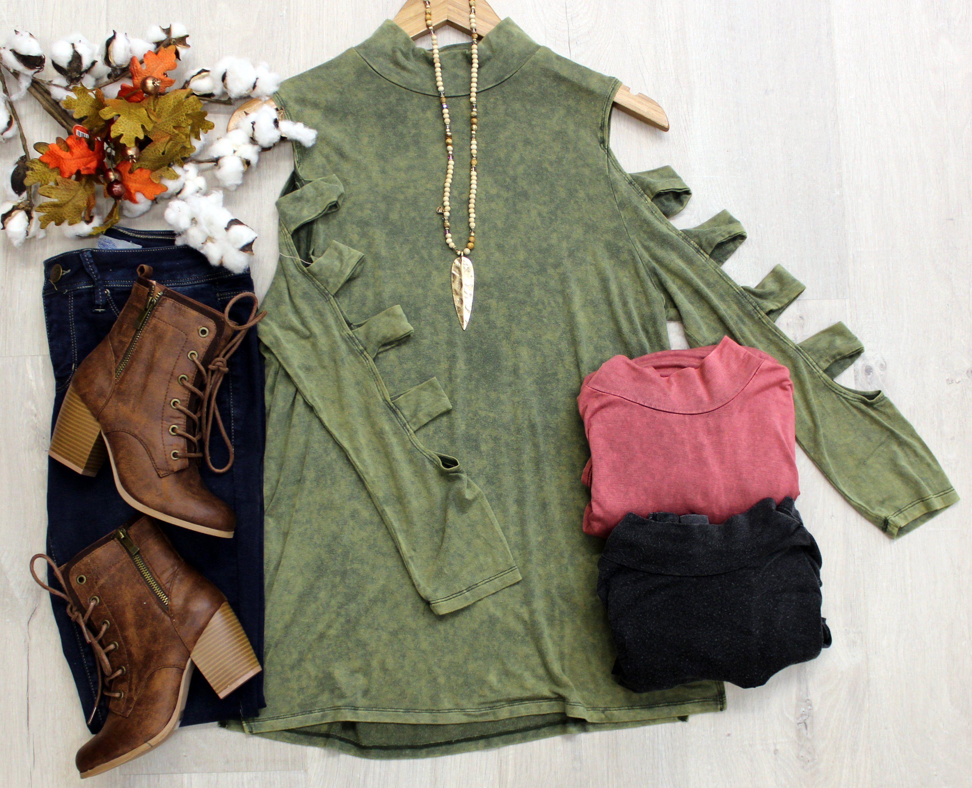 """Online Only~ """"Cathy"""" Vintage Washed Mock Neck Top with Ladder Sleeve Detail, 3 colors"""